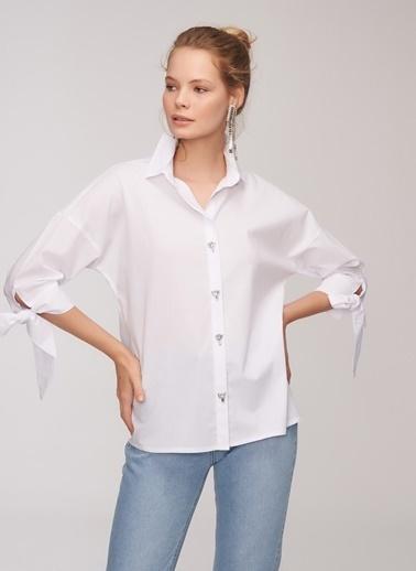 People By Fabrika Taşlı Gömlek Beyaz